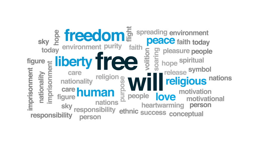 Free will animated word cloud, text design animation.