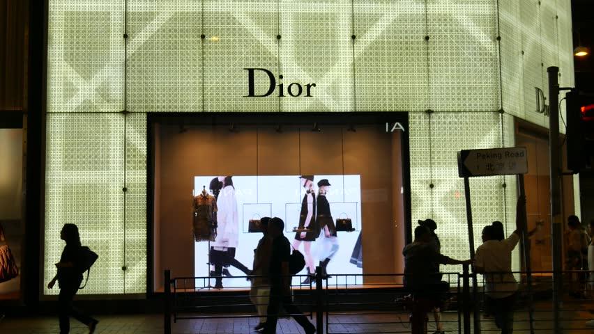 Hong Kong, Hong Kong S.A.R.-June 5, 2017:  View of Christian Dior boutique storefront window in Hong Kong