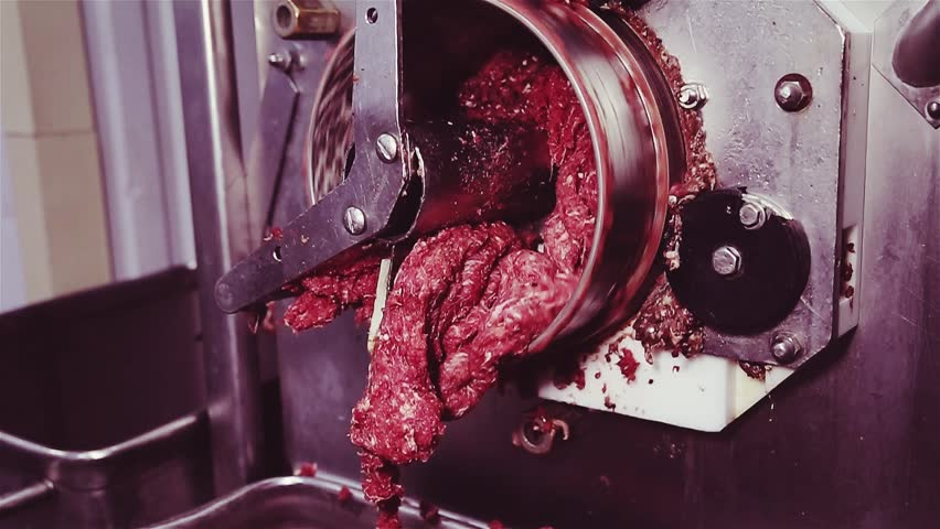 factory meat grinder. industrial meat grinder. process of grinding and processing in minced. minced red chopped factory grinder f