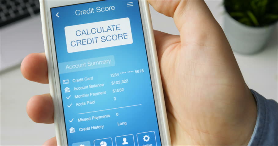 Checking credit score on smartphone using application. The result is AVERAGE | Shutterstock HD Video #29520757