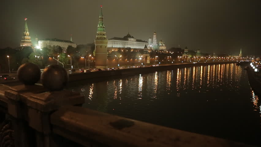 night view on the Kremlin embankment. Moscow, Russia, slider