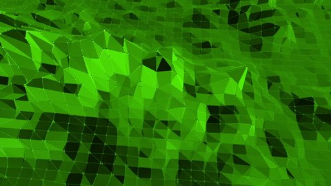 Green low poly background waving. Abstract low poly surface as chemical environment in stylish low poly design. Polygonal mosaic background with vertex, spikes. Cartoon modern 3D design Free space
