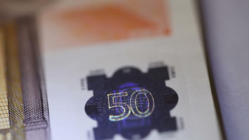 hologram in euro money