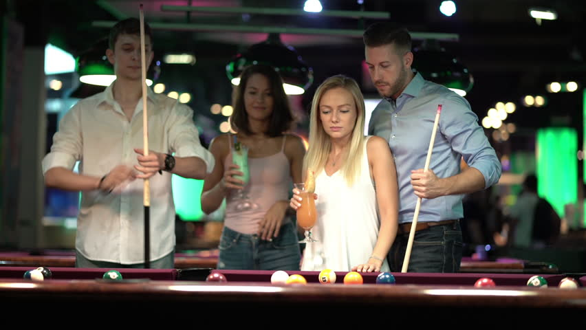 three ladies are playing billiards and having unforgettable threesome  24073
