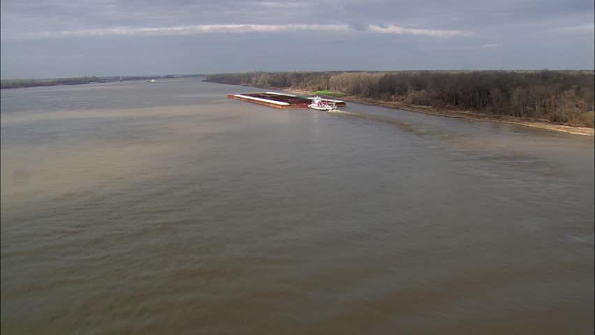Tug And Barges On Mississippi Near Vicksburg