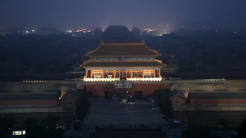 Center Beijing, China, Air Pollution, Smog, Gate to Forbidden City, Aerial View