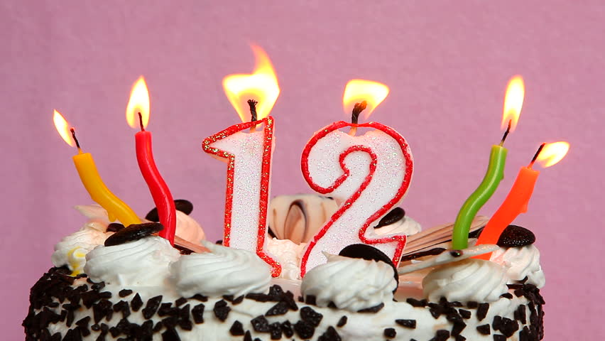 Happy 12 Birthday With Cake And Candles On Pink Background