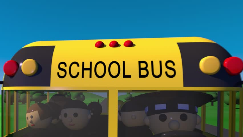 Back to school. The bus carries children to school.