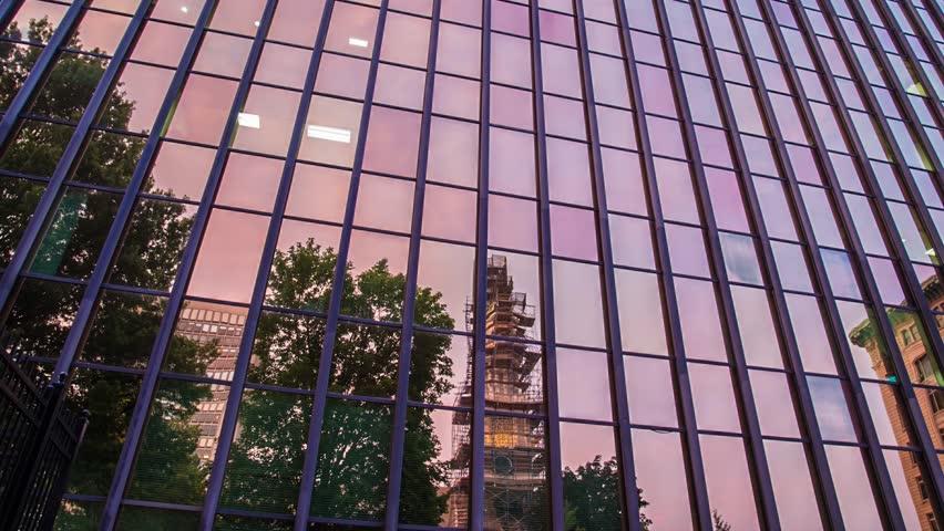 reflective sunset building hartford connecticut time lapse