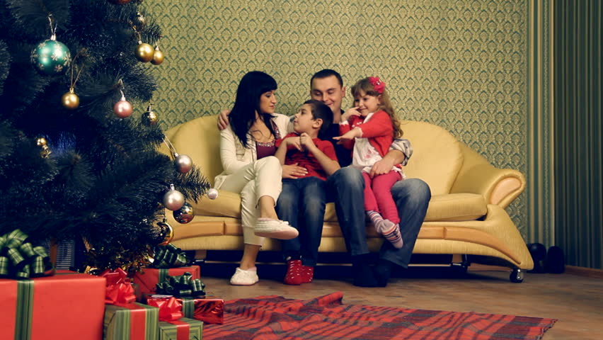 A family celebrating Christmas or New Year.