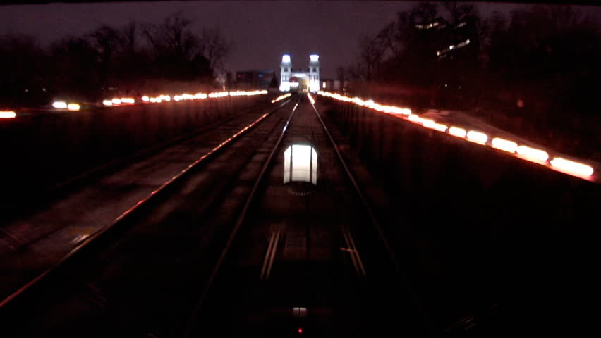 Time-lapse shot of riding up the Duquesne Incline at night.