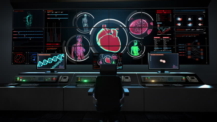 Human medical care center, main control room, Female body scanning blood vessel, lymphatic, heart, circulatory system in digital display. X-ray view.Animation.