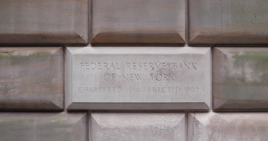 Federal Reserve Bank in New York City sign