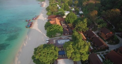 Descending Aerial Drone Shot Over Long Beach, Phi Phi Islands, Thailand