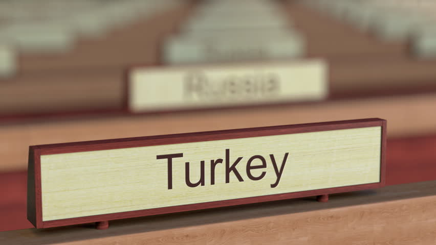 Turkey name sign among different countries plaques at international organization. 3D rendering