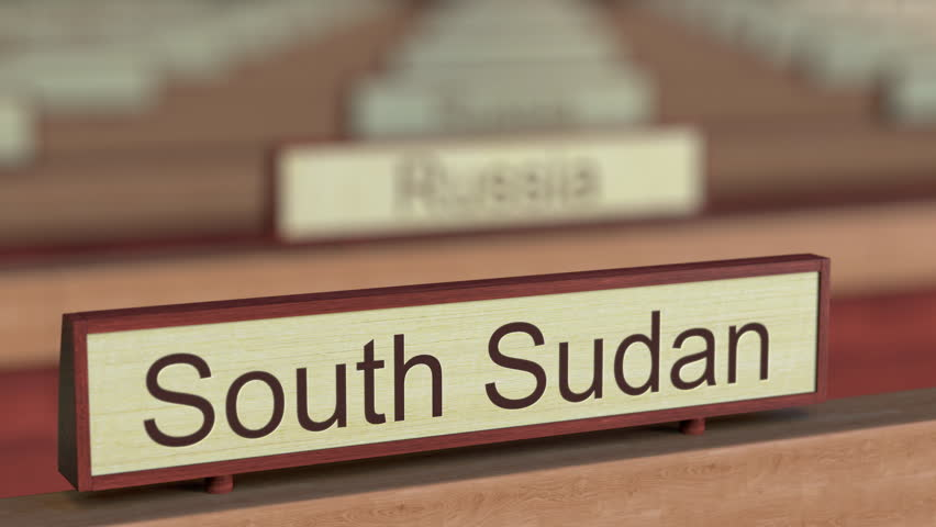 South Sudan name sign among different countries plaques at international organization. 3D rendering