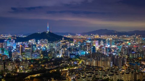 Beautiful city in night, cityscape of Seoul, South Korea, Seoul tower modern building and architecture in Downtown Seoul, Timelapse.