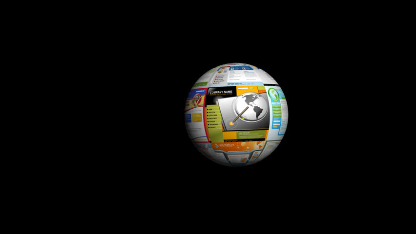 A 3d internet website ball is zooming into the screen on a black background while a magnifying glass is searching the technology web pages. Add your image to the green chroma area.