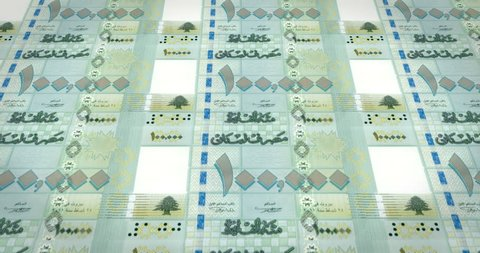 Banknotes of one hundred thousand lebanese pounds of Lebanon, cash money, loop