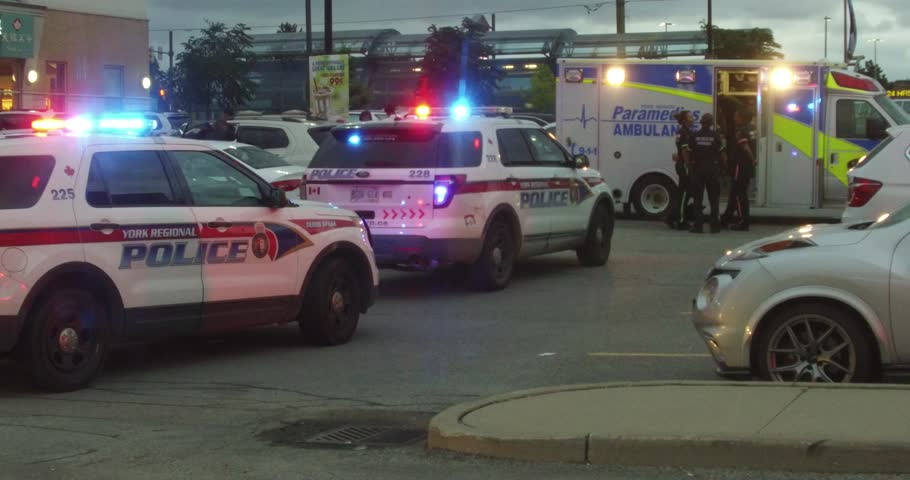 Richmond hill, Ontario, Canada August 18 2017 Fentanyl heroin drug overdose with ambulance and police on scene