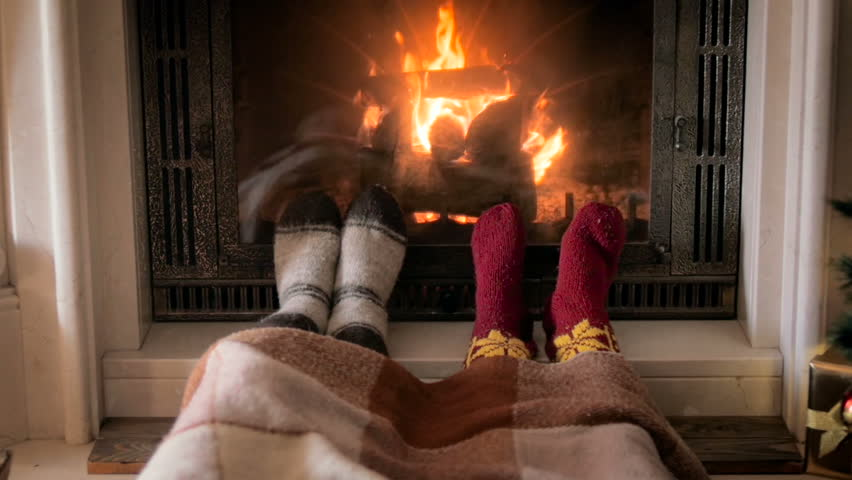 Foreground Sexy Couple Legs In Bed In Front Of Fireplace, Romantic Night 4K Stock -3432