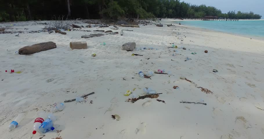 Mantanani, Sabah, Malaysia - 2nd August 2017 : In certain parts of the island, there are many garbage and plastic bottles dumped at the beach