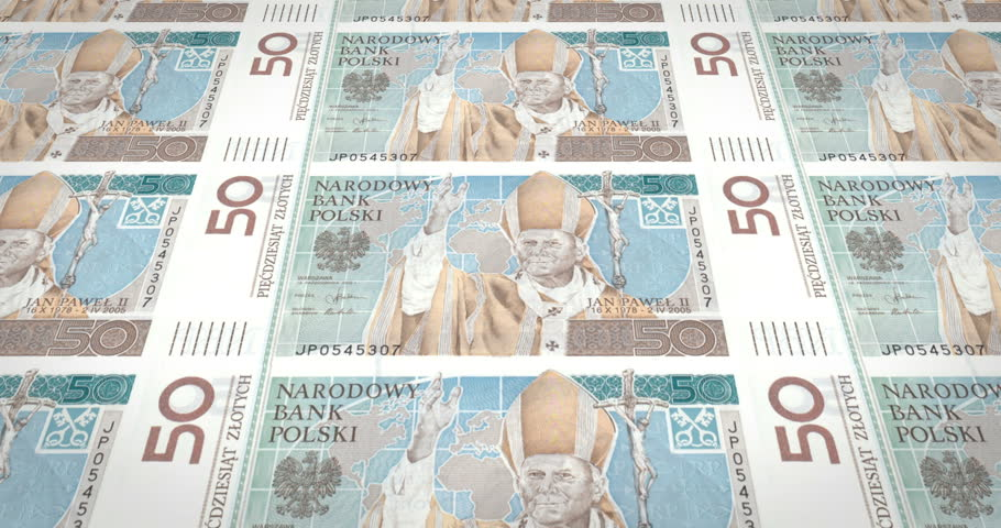 Banknotes of fifty polish zlotys of Poland rolling, cash money, loop | Shutterstock HD Video #29955997