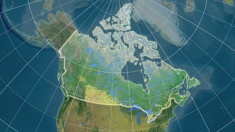 The Canada area map in the Azimuthal Equidistant projection. Layers of main cities, capital, administrative borders and graticule. Main physiographic features