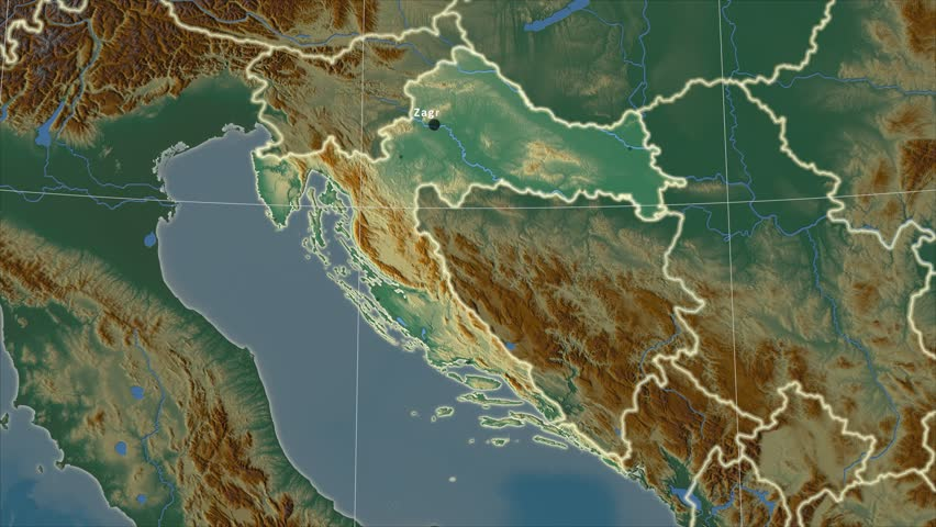 The Croatia area map in the Azimuthal Equidistant projection. Layers of main cities, capital, administrative borders and graticule. Relief map