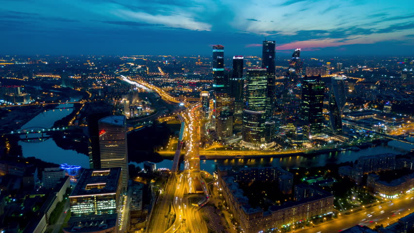Sunset sky night light moscow city traffic ring road aerial panorama 4k time lapse russia | Shutterstock HD Video #29969647