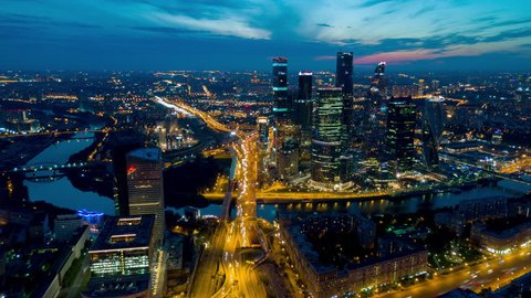 sunset sky night light moscow city traffic ring road aerial panorama 4k time lapse russia