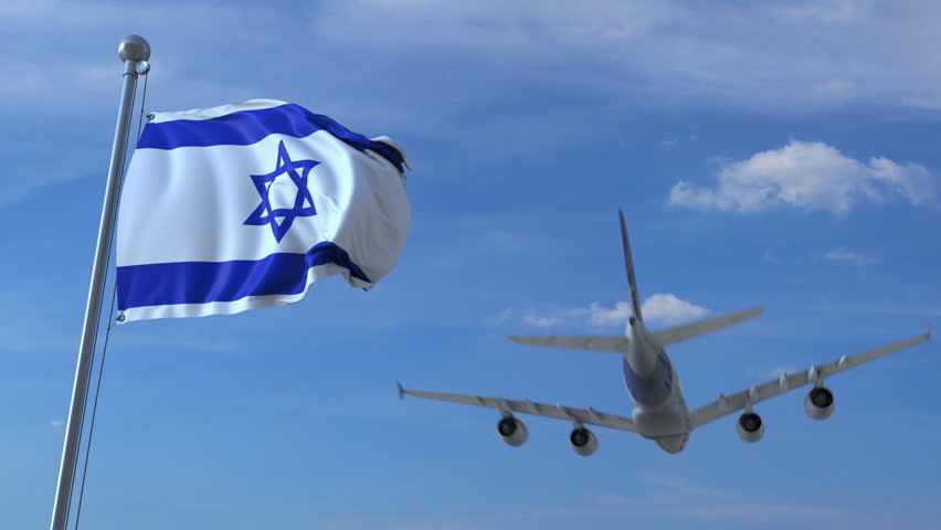 Commercial airplane landing behind waving Israeli flag. Travel to Israel conceptual animation