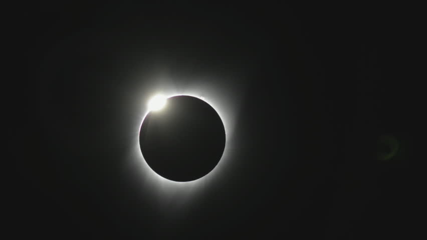The 'Diamond Ring' effect at the end of totality during a complete solar eclipse in August 2017 as seen from the state of Oregon.
