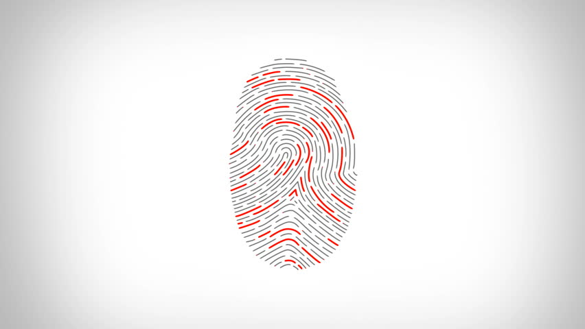Fingerprint recognition. Scanner showing the three basic types of patterns in fingerprints: arch, loop and whorl. Biometric search and authentication. Security technology. Black and White.