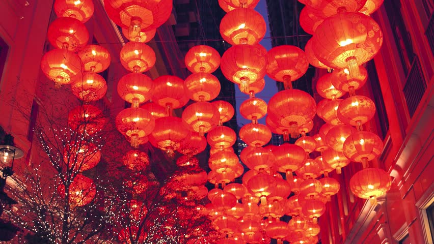 Chinese new year red paper latern decoration in Hong Kong city. | Shutterstock HD Video #30031027
