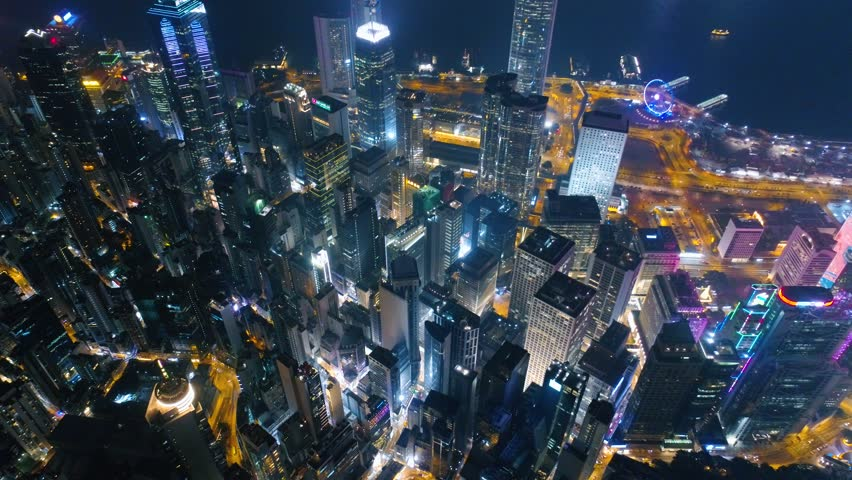 Hong Kong Drone Night view Roofs of skyscrapers 4k | Shutterstock HD Video #30043897
