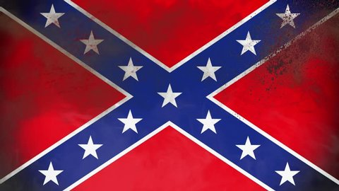 Closeup Grunge Confederate Flag with Blood and Smoke Waving in the Wind - 4K Animation