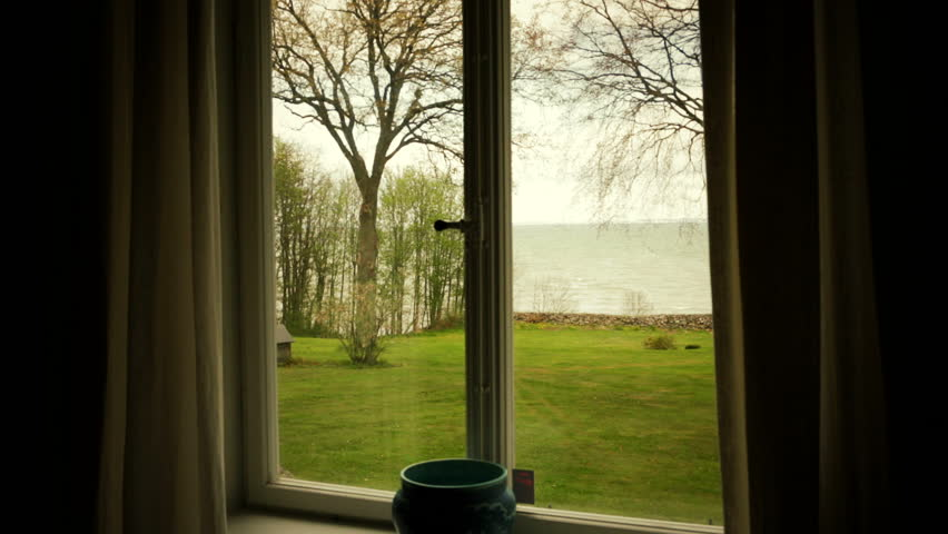 Room With A View Garden Design Part - 49: Room With A View From Window Over A Green Garden And The Sea.Warm Tone