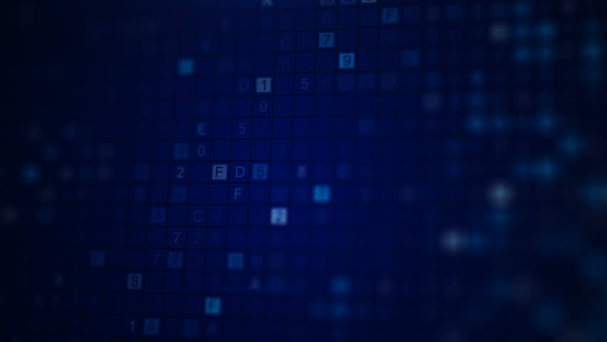 Scan HEX digital data code. Abstract information technology concept. Computer generated seamless loop animation rendered with DOF 4k UHD (3840x2160) #30064297