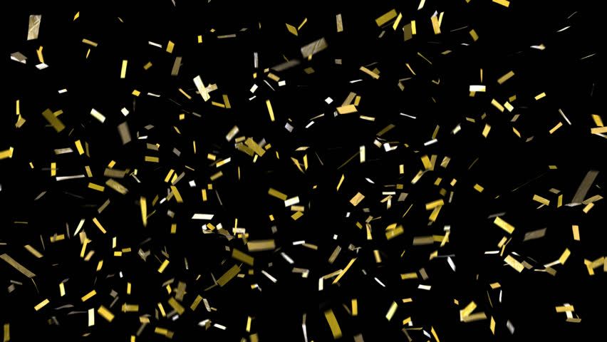 Confetti with alpha channel! Pre-keyed, background is transparent. Loopable. ProRes 4444 with transparency so you can put this confetti over top of anything. Shiny gold confetti fall, clears frame #30066067