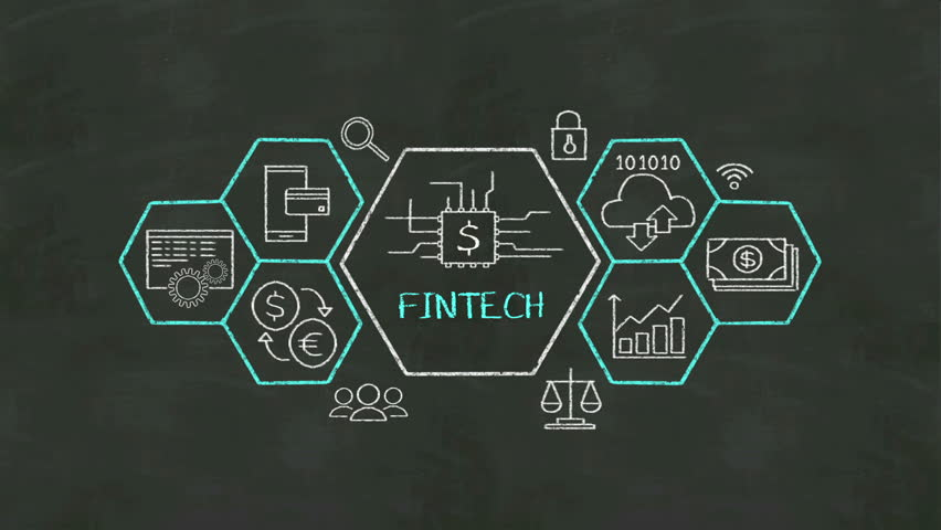 Fintech icon and various graph on chalkboard.