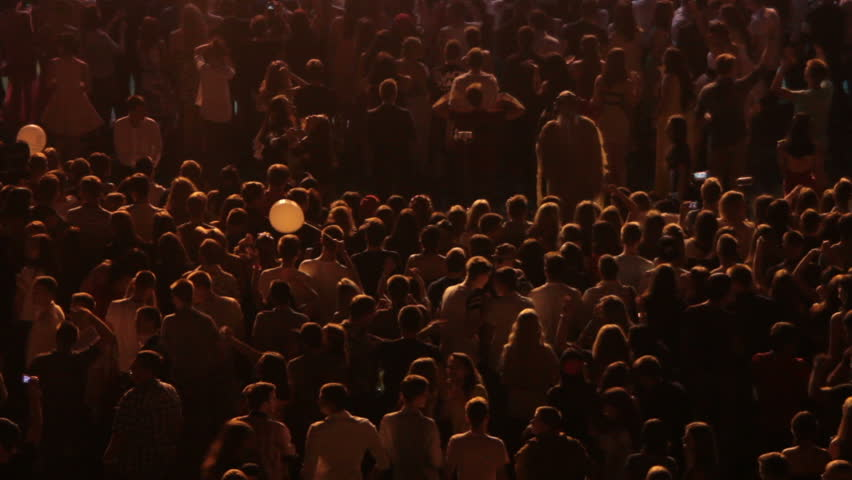 Silhouettes of teenager crowd dancing in darkness space of night club | Shutterstock HD Video #30102337