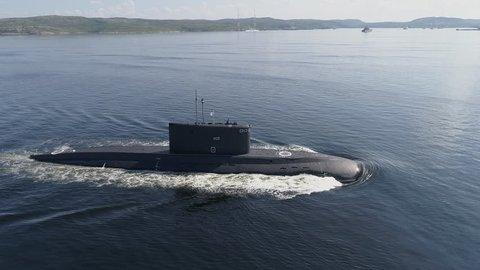 Russian large diesel-electric submarine.Kola Bay.Summer.