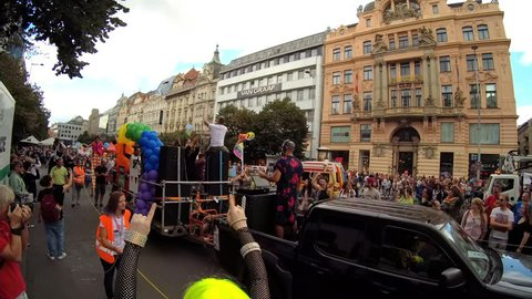 PRAGUE, CZECH REPUBLIC – AUGUST 12, 2017: DJ plays and people dance at Pride parade on the Wenceslas Square which fights against homophobia. Symbol of gay, lesbian, bisexual and transgender community.