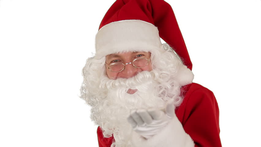 Santa Claus Presenting a White Sheet then sending a Kiss and saying Bye Bye, white