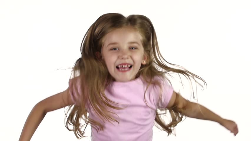 Child jumps, emotions of happiness and fun. Green screen. Slow motion