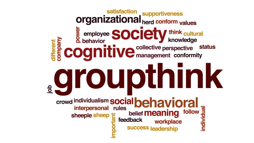 Groupthink animated word cloud, text design animation.