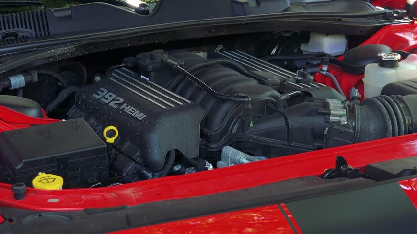PRAGUE, CZECH REPUBLIC - JUNE 1, 2017: Closeup of engine 392 Hemi car Dodge Challenger SRT