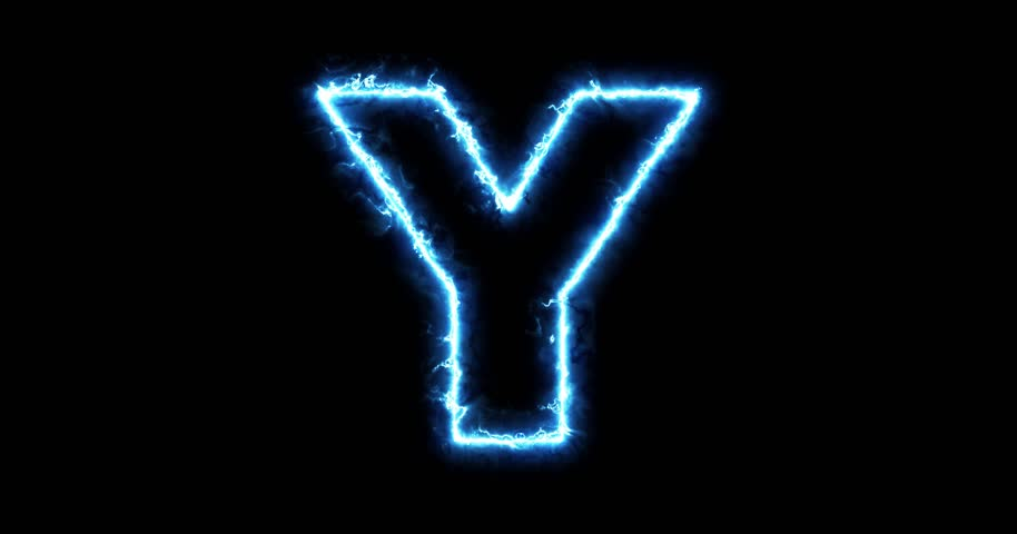 Alphabet letter y outline in two colors looping on black electric lightning letter y on black background in 4k hd stock footage clip altavistaventures Choice Image