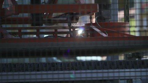 Conveyer line, Industrial interior, Production of ceramic tiles, Ceramic tile factory, Movement of ceramic tiles on the conveyor,  conveyer belt